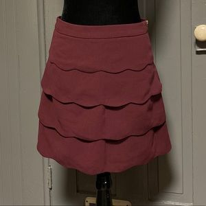 NWT H&M Maroon Scallop Tiered Mini Skirt